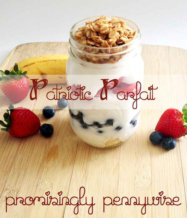 Patriotic Yogurt Parfaits: Only 5 Ingredients. This light, fruit filled parfait is perfect for summer!