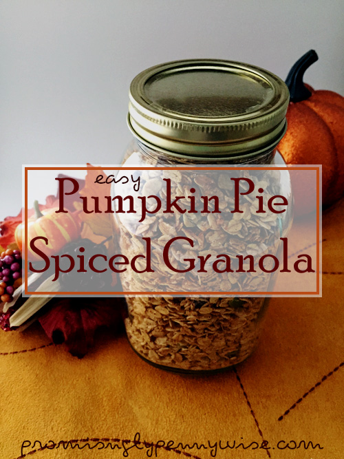 Easy Pumpkin Pie Spiced Granola: Make the house smell like autumn with this simple and healthy fall treat!