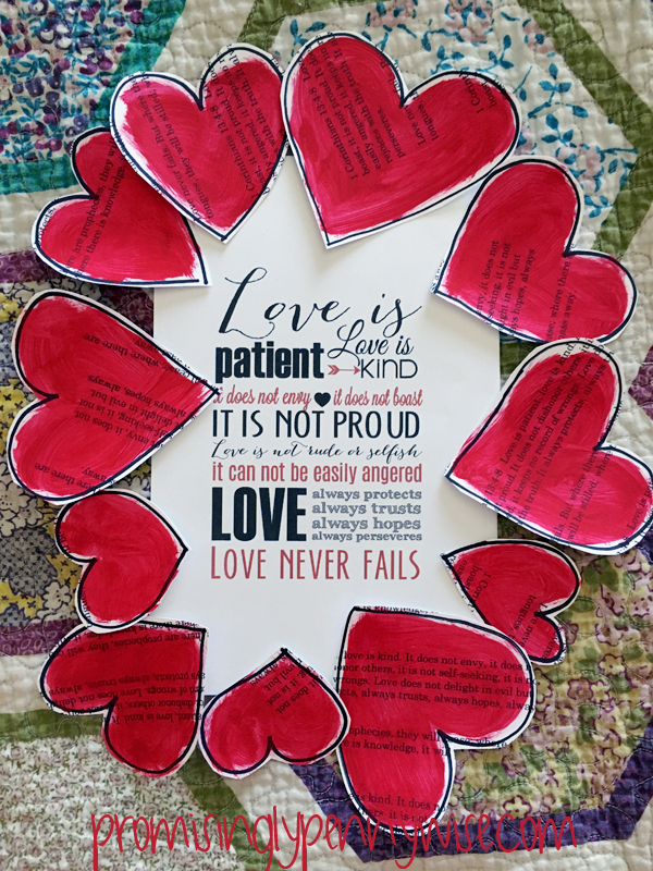 Create an easy heart craft featuring 1 Corinthians 13:4-8