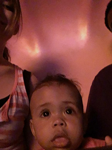 G was in awe of the talking seagull on The Little Mermaid ride.