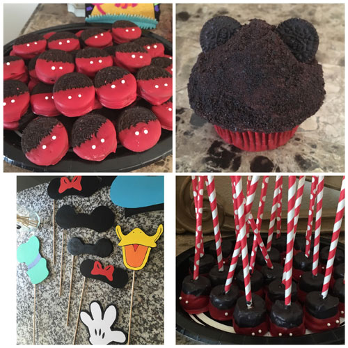 Aunt Katie made Mickey Oreos, chocolate covered marshmallows, photo booth props and spent a couple of hours helping me make Mickey cupcakes the night before the party!