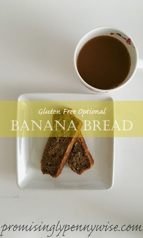 Easy, moist and delicious Gluten Free Optional Banana Bread. Sure to be a hit with any crowd.