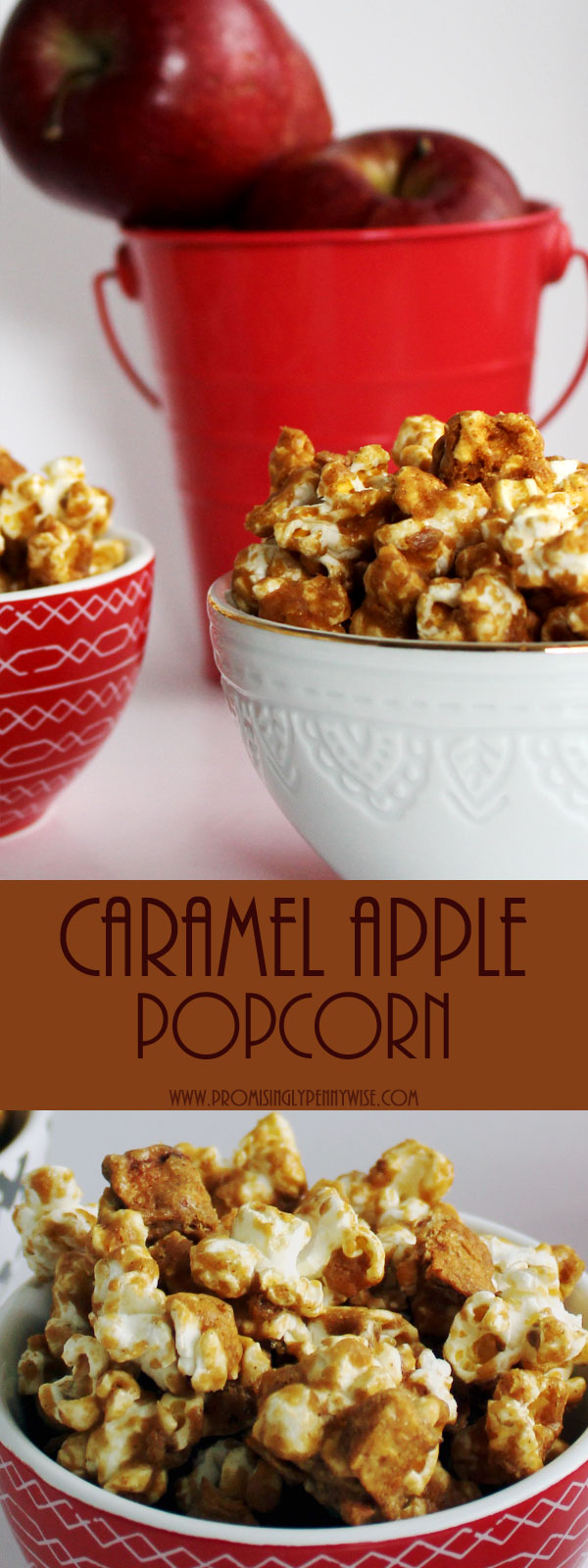 Homemade Caramel Apple Popcorn: Caramel apples and caramel popcorn combine in this homemade, corn syrup free oven baked treat!