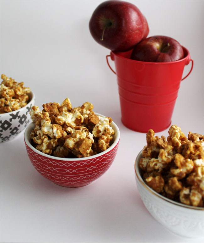 Caramel apples and caramel popcorn combine in this homemade, corn syrup free oven baked treat!