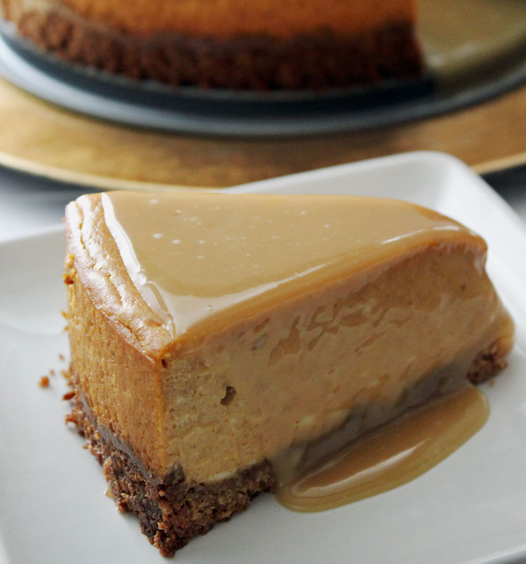 Gluten-free Pumpkin Maple Cheesecake: A buttery pecan oat crust and sweet maple glaze make this pumpkin infused cheesecake irresistible.