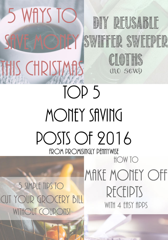 Top 5 Most Popular Money Saving Posts of 2016 from Promisingly Pennywise