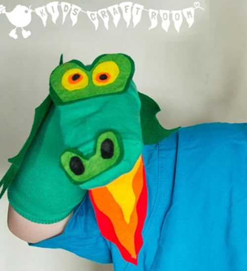 no-sew-dragon-sock-puppet