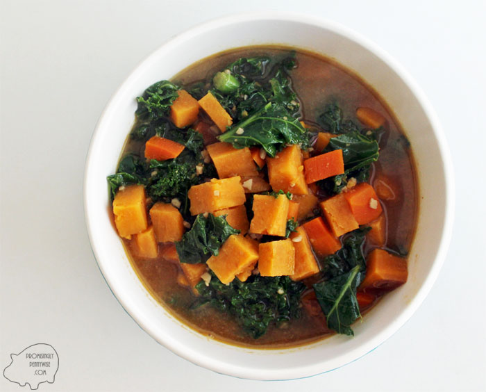 Sweet Potato and Kale Stew: With smokey cumin, garlic, clove, and a slightly sweet honey peanut broth, this healthy soup is irresistible! Vegetarian | Gluten-Free | Dairy-Free | Low Calorie | Whole Foods | One Pot Meal