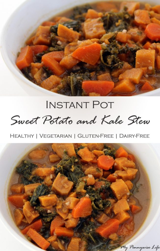Instant Pot Sweet Potato and Kale Stew: Gluten-free, dairy-free, vegetarian, with wholesome ingredients and ready in just 25 minutes from start to finish!