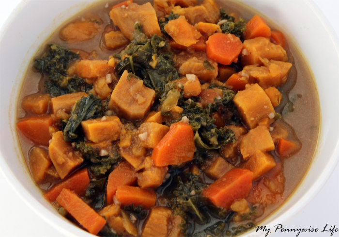Instant Pot Sweet Potato and Kale Stew: Takes just 25 minutes from start to finish! This gluten-free, vegetarian stew contains wholesome ingredients and makes a delicious and healthy one pot dinner.