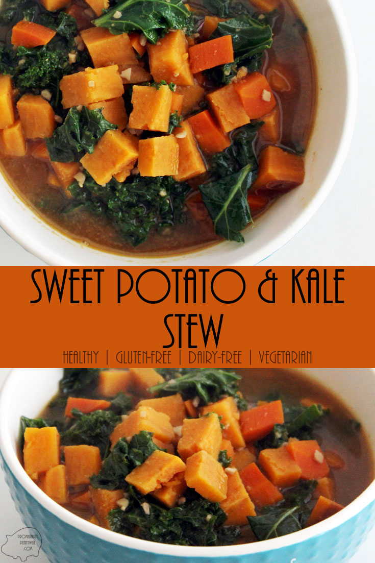 Sweet Potato and Kale Stew: With smoky cumin, garlic, clove, and a slightly sweet honey peanut broth, this healthy soup is irresistible! Vegetarian | Gluten-Free | Dairy-Free | Low Calorie | Whole Foods | One Pot Meal