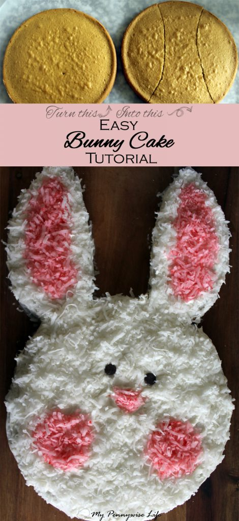 Easy Bunny Cake Tutorial: How to make a cute bunny cake with everyday kitchen items. Just 10 easy steps. Includes gluten-free options.
