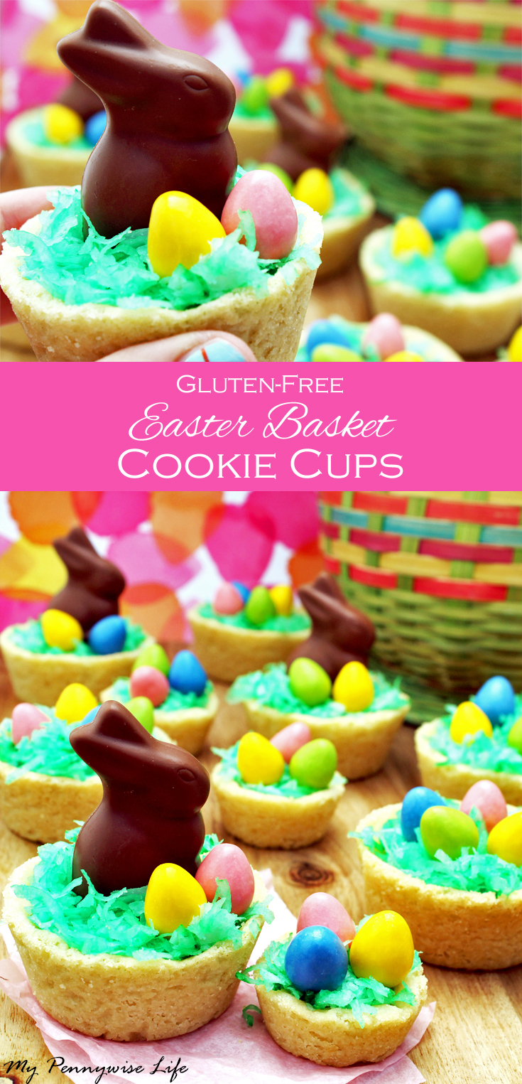 Easter Basket Cookie Cups (Gluten-free!): Surprisingly easy and so good! No one will know they're gluten-free. Includes dairy-free option.